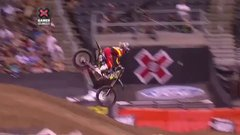 Thumbnail of X Games Moto X rider leading race fist pumps, crashes, loses
