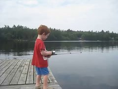Thumbnail of Boy catches fish in record time
