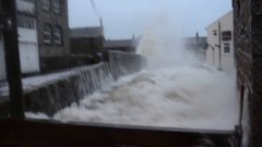 Thumbnail of Wall of water hits Newlyn Bridge