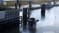 Thumbnail of Dutch Driver tries to jump drawbridge - and fails