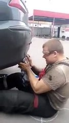 Thumbnail of Russian guy blocks car exhaust