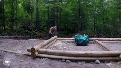 Thumbnail of Building a log cabin in the forest  without powertools timelapse