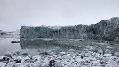 Thumbnail of Moment massive glacier collapses in Iceland sends tourists fleeing in panic