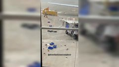 Thumbnail of Beverage Vehicle spins out of control at Chicago O'hare Airport