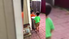 Thumbnail of Kids Jokingly Hit Each Other With Trash Can's Lid