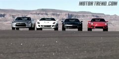 Thumbnail of Four high-performance cars in a drag race