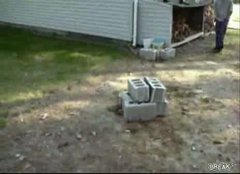 Thumbnail of Incredibly Stupid Cinder Block Cannon Explosion