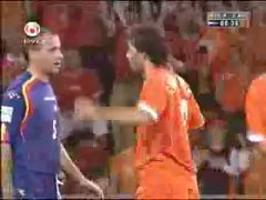 Thumbnail of Van Nisterlrooy Celebrates goal infront of opponent