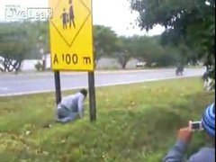 Thumbnail of Biker vs. road sign