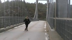 Thumbnail of Winter storm near Bergen, Norway makes bridge swing